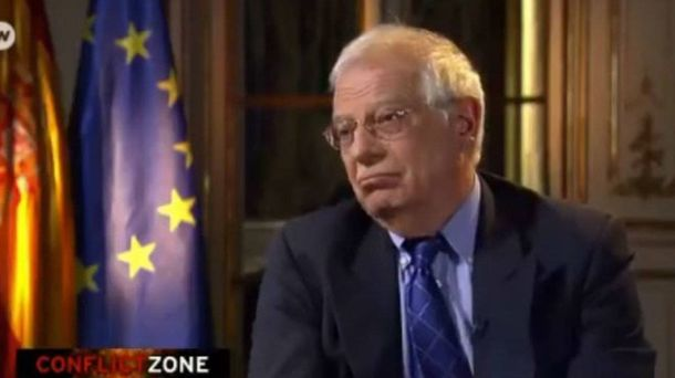 Foto: El ministro Josep Borrell, durante la entrevista en la cadena alemana. (DW)