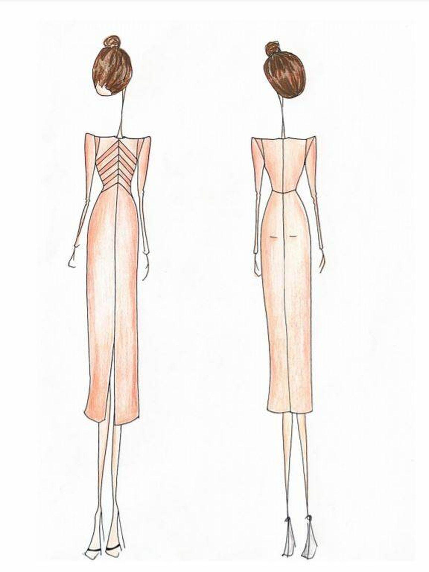 Boceto del segundo vestido de Ayuso. (Cortesía)