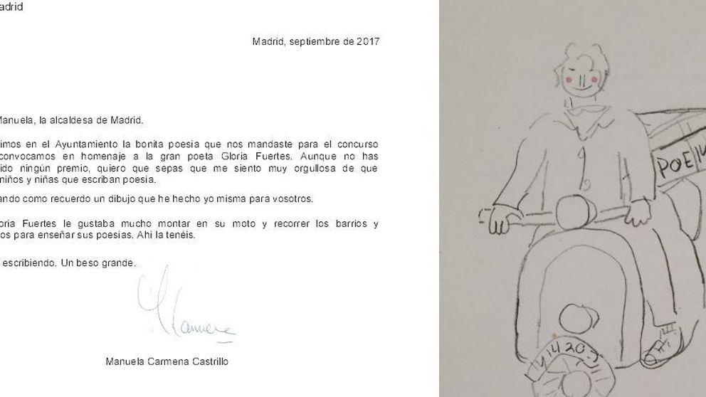 Carmena anima a un niño que no ganó un concurso de poesía: Estoy orgullosa
