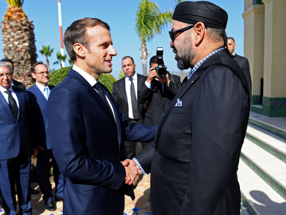 Foto: El presidente francés, Emmanuel Macron, junto al rey marroquí, Mohamed VI.