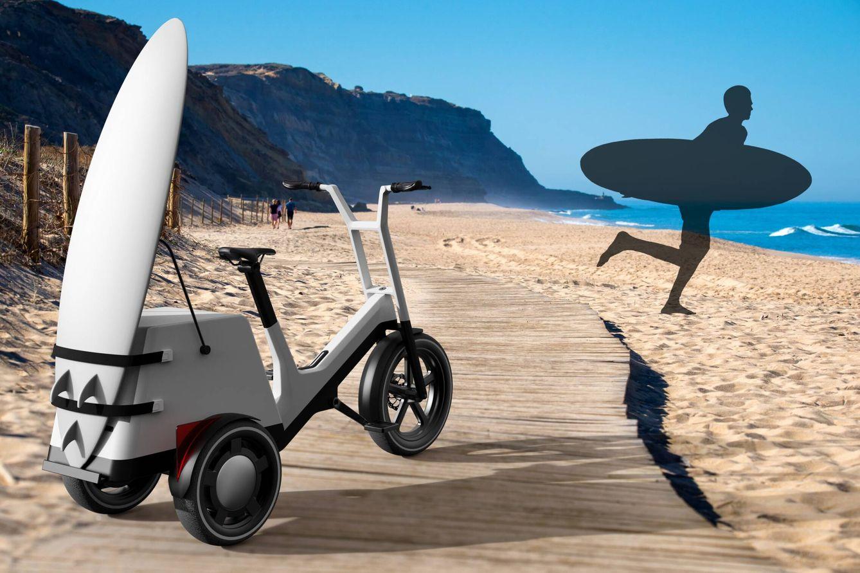 El Dynamic Cargo dispone de accesorios de todo tipo para asegurar objetos ciertamente voluminosos. Su mitad delantera bascula en las curvas para que la conducción sea casi de bicicleta normal.