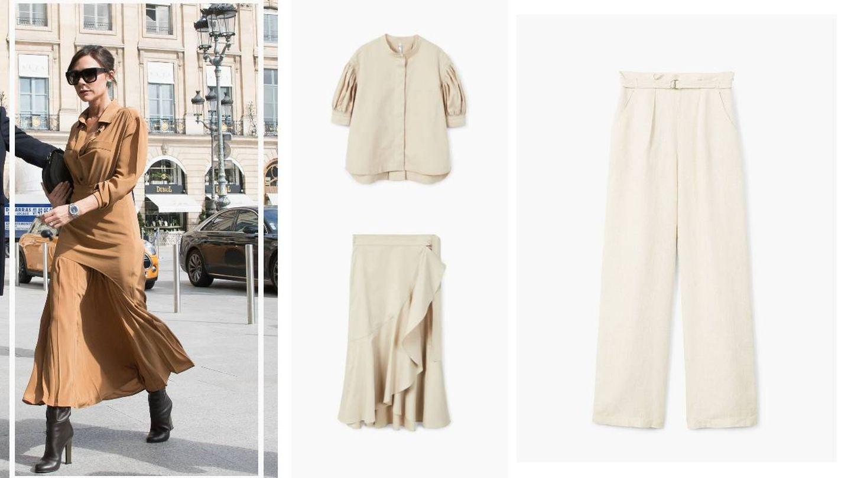 Victoria Beckham; camisa, falda y pantalón. (Gtres/Web de Mango)
