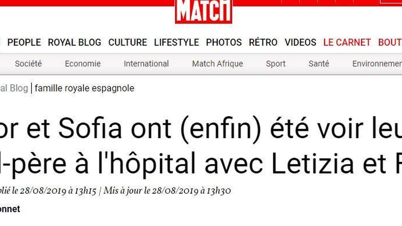 La noticia, en la edición digital de 'Paris Match'.
