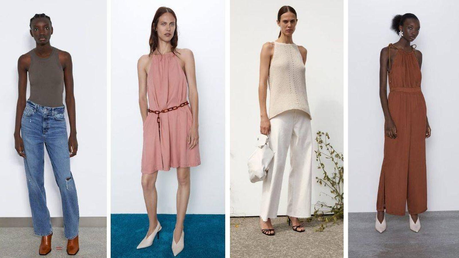 Foto: Vestidos y blusas de Zara con el escote 'halter'. (Cortesía)