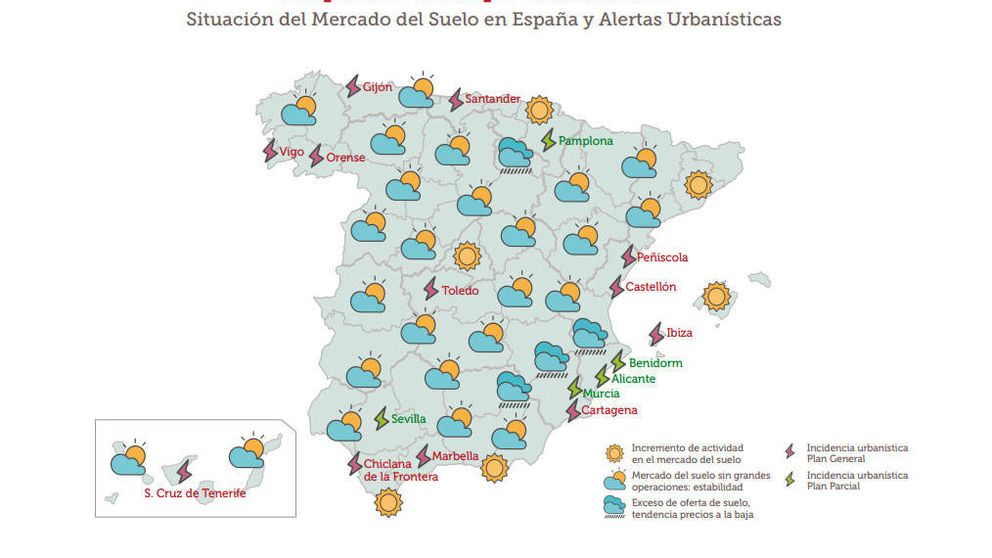 Nublado, lluvioso o soleado, ¿qué muestra el mapa del suelo en España?