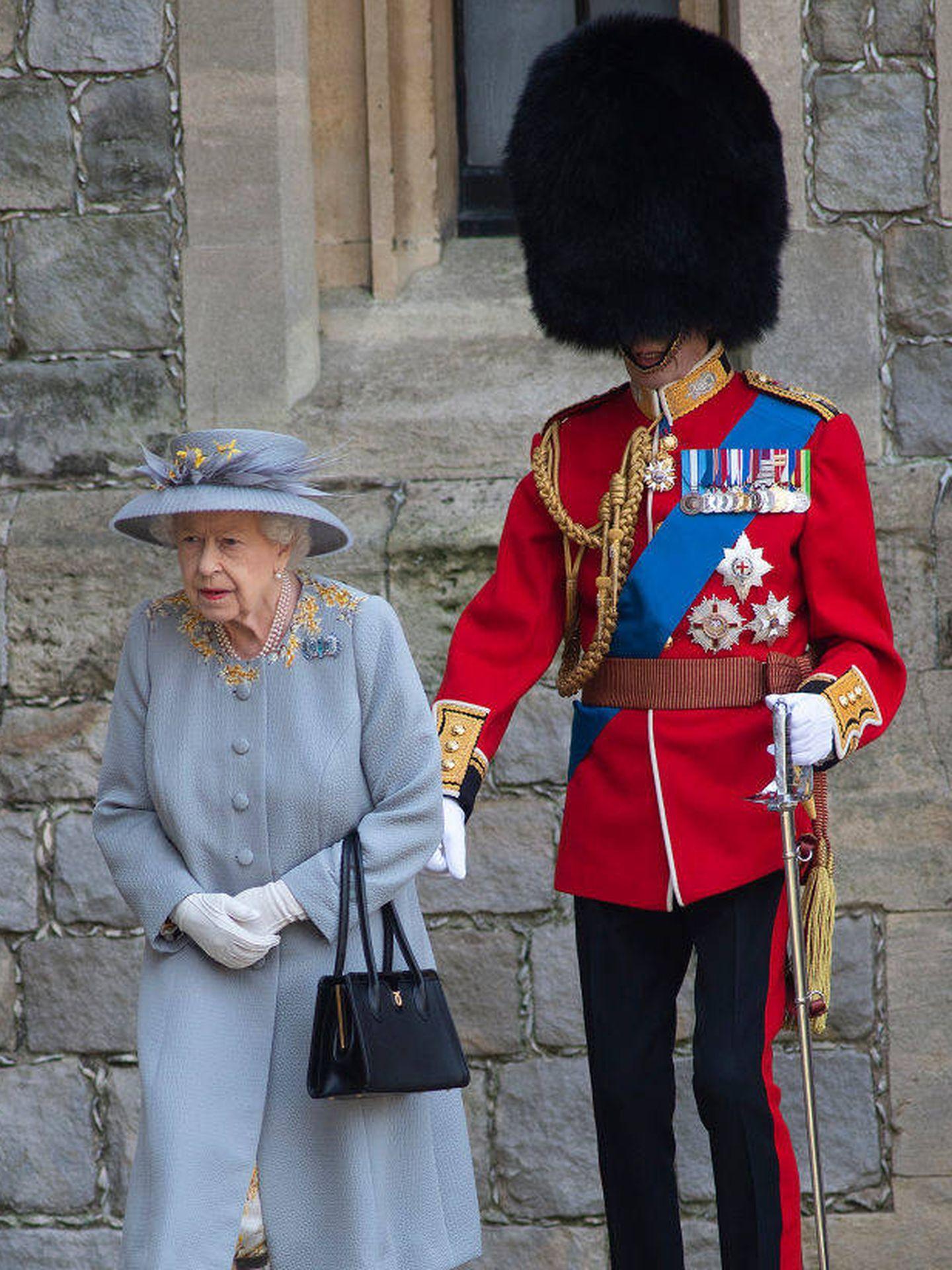 Isabel II y el duque de Kent en el Trooping The Colour 2021. (Getty)