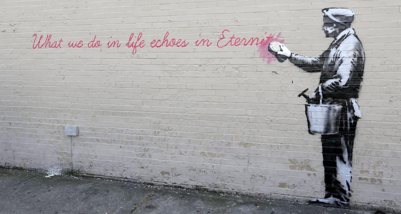 Foto: Una de las obras del artista Bansky en Nueva York (EFE)