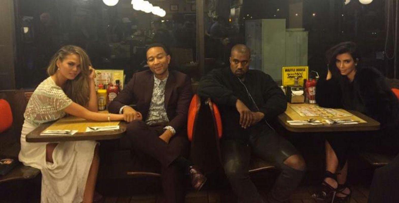 Foto: Una noche de fiesta con John Legend y el único que mira al infinito es Kanye
