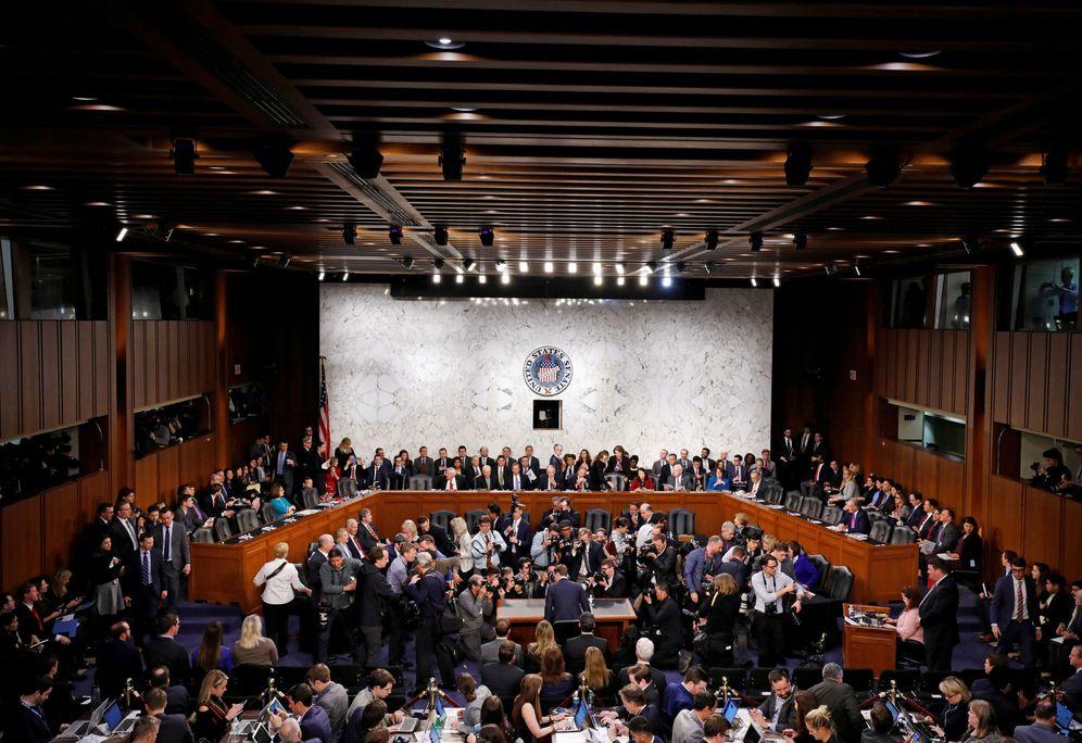 Foto: La comparecencia de Zuckerberg. (Aaron P. Bernstein/Reuters)