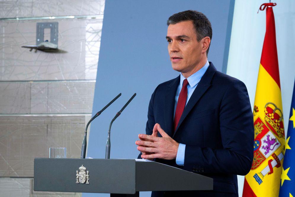 Foto: Pedro Sánchez, este 14 de marzo durante su comparecencia en la Moncloa. (EFE)