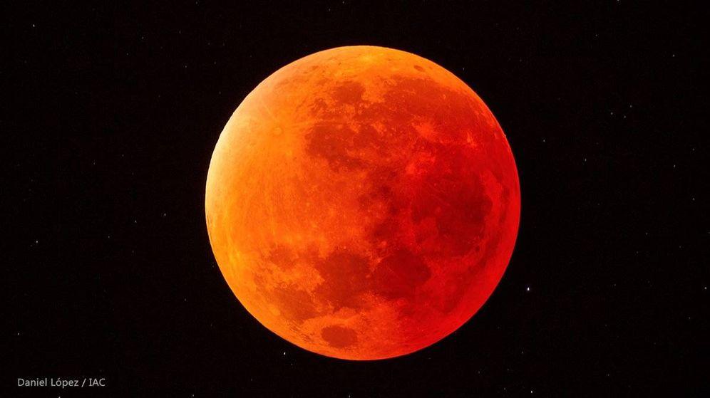Foto: Imagen de la 'Luna roja' en el cielo | Daniel López (IAC)