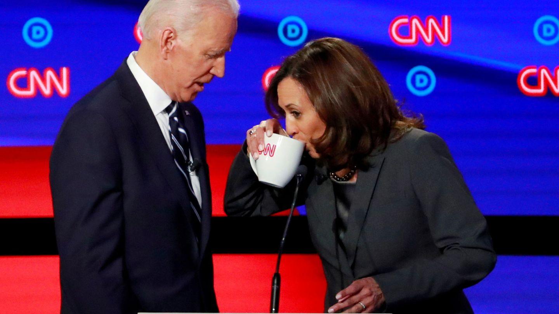 Joe Biden y Kamala Harris durante un debate televisivo. (Reuters)