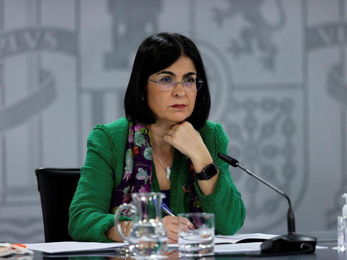 Foto: La ministra de Sanidad, Carolina Darias, en la rueda de prensa tras la reunión del Consejo Interterritorial del Sistema Nacional de Salud. (EFE)