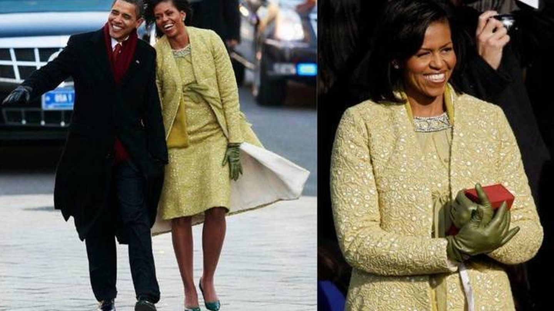 Michelle Obama, durante la jura de Barack Obama con una creación de Isabel Toledo. (Getty)