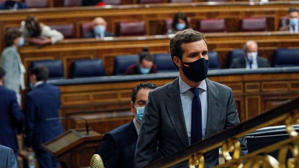 Foto: El líder del PP, Pablo Casado, en el Congreso. (EFE)