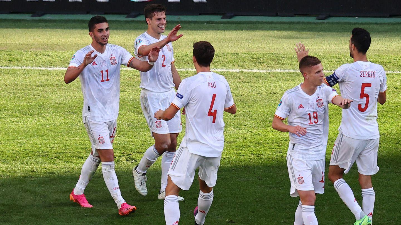 Ferran Torres celebra el 1-3. (Reuters)