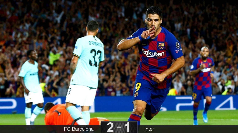 Foto: Luis Suárez marcó los dos goles del Barcelona ante el Inter. (EFE)