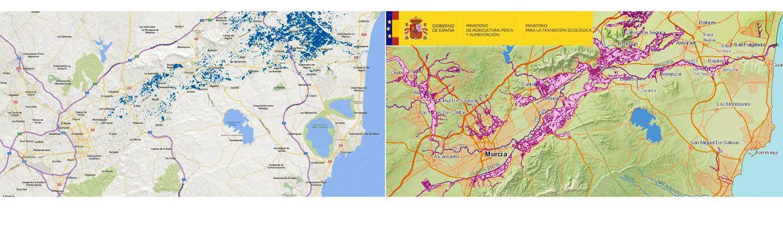 Foto: El mapa después de las lluvias torrenciales en el sureste de España y el mapa elaborado por el Gobierno con los riesgos de inundaciones a 50 años. (EC/Gobierno de España)