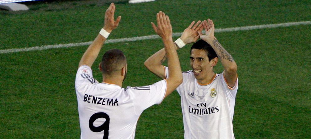 Foto: Di María celebra con Benzema un tanto de la pasada temporada (Efe).