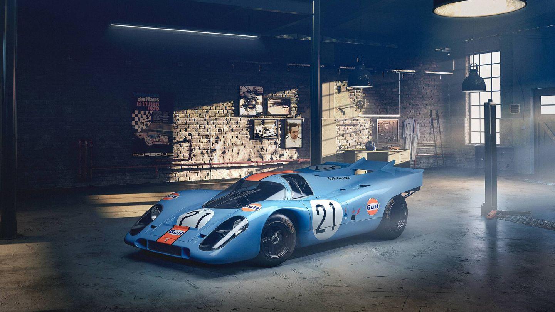 El Porsche 917 KH Gulf con el que Rodríguez logró 8 de sus 11 victorias en el Campeonato del Mundo de Marcas ha servido de inspiración.