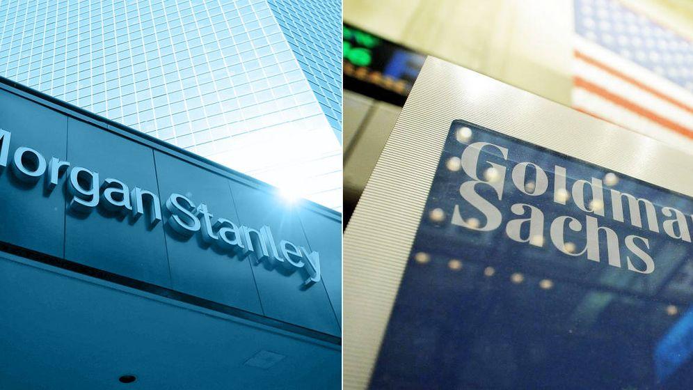 Foto: Fachadas con el logo de Morgan Stanley y Goldman Sachs.