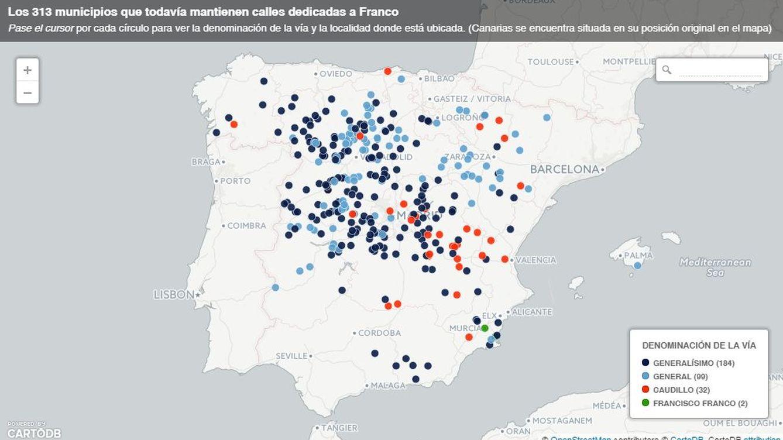 Franco aún 'vive' en 317 calles de toda España; José Antonio Primo de Rivera, en 373