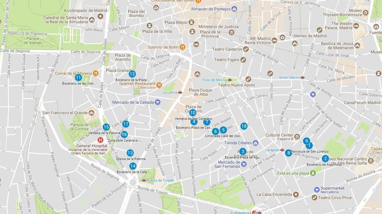 Mapa de los diferentes puntos de las fiestas de San Cayetano, San Lorenzo y la Virgen de la Paloma de Madrid (Google Maps)