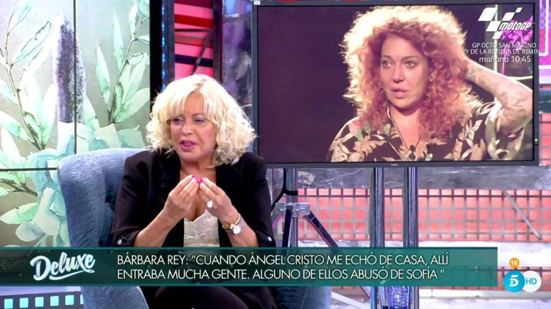 Bárbara Rey hablando del testimonio de su hija. (Telecinco).