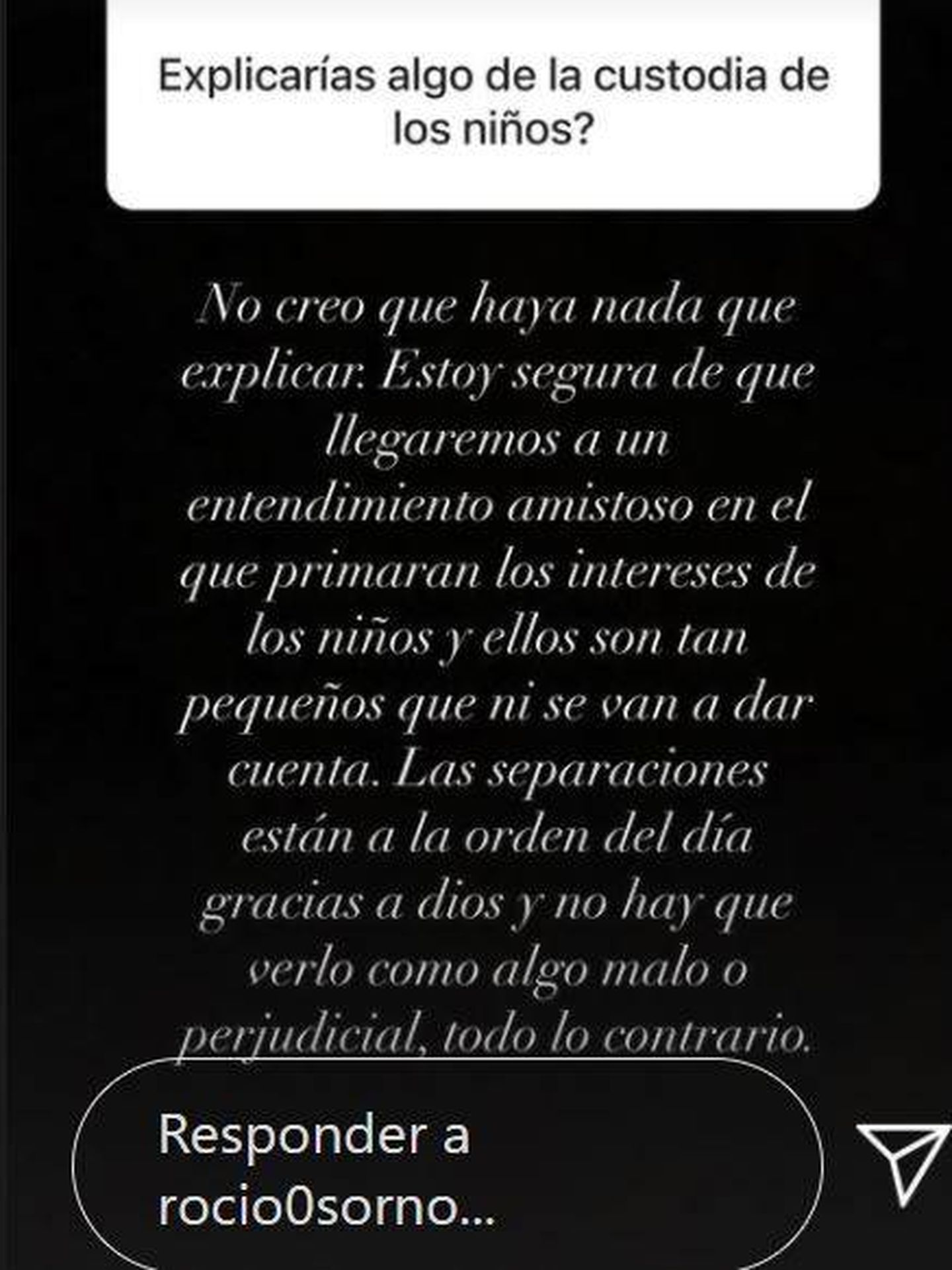 Una de las respuestas de Rocío Osorno en Instagram