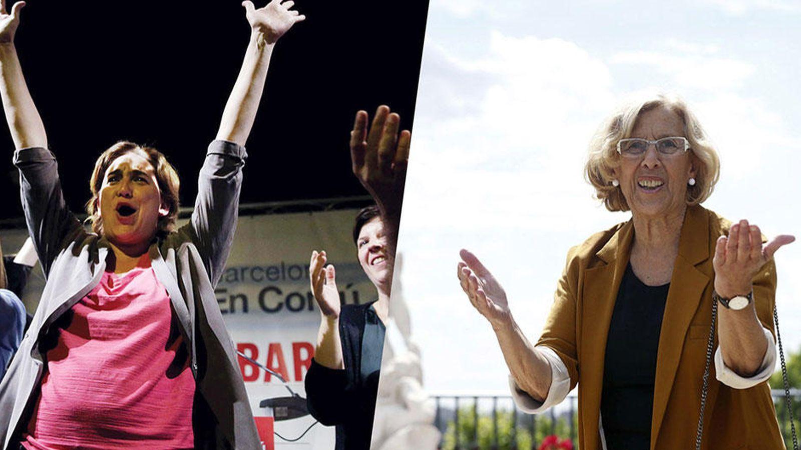 Foto: Ada Colau, ganadora de las elecciones municipales en Barcelona y Manuela Carmena, candidata de Ahora Madrid a la Alcaldía de la capital. (Vanitatis)