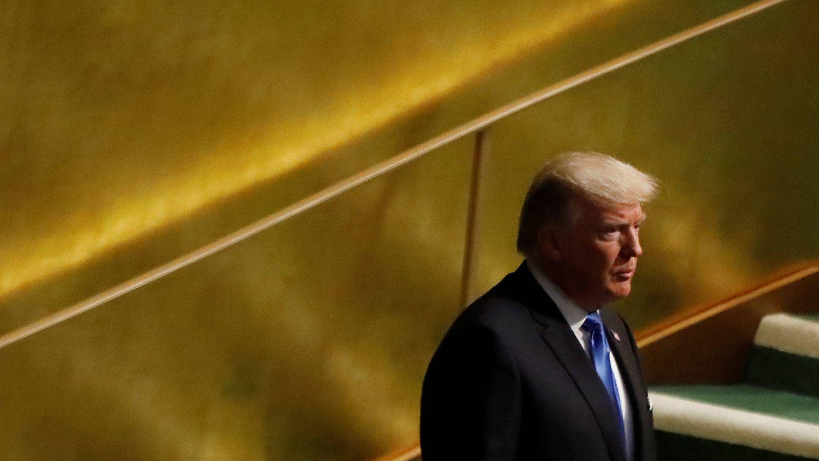 Foto: Donald Trump en la sede de la ONU en Nueva York, momentos antes de dirigirse a la Asamblea General, el 19 de septiembre de 2017. (Reuters)