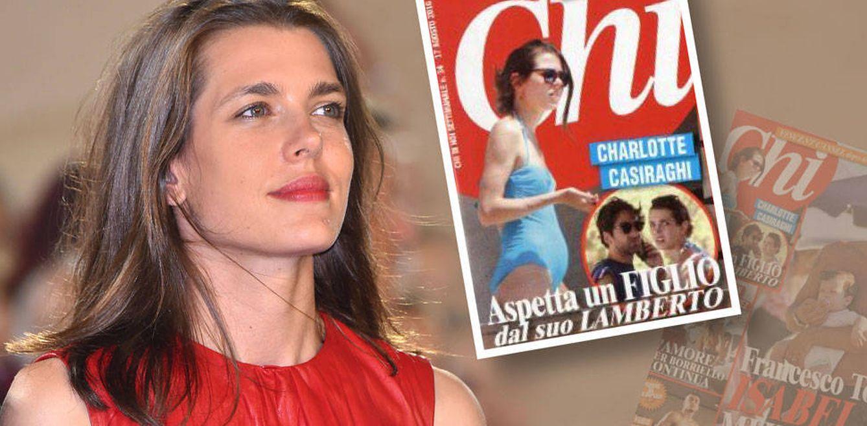 Foto: Carlota Casiraghi junto a una imagen de la portada de 'Chi'