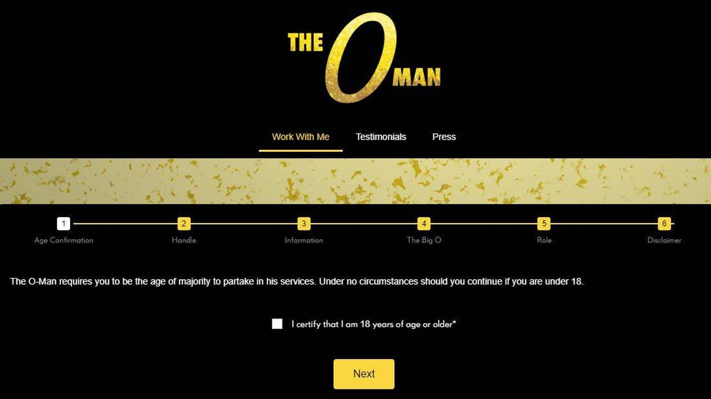Página de inicio de la web de 'The O-Man'.