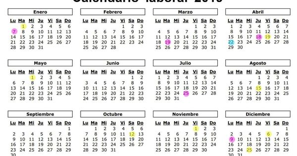 Calendario Festivo.Calendario Laboral De 2019 Ocho Festivos Nacionales Y Solo