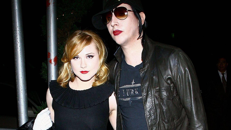 Evan Rachel Wood y Marilyn Manson. (Getty)