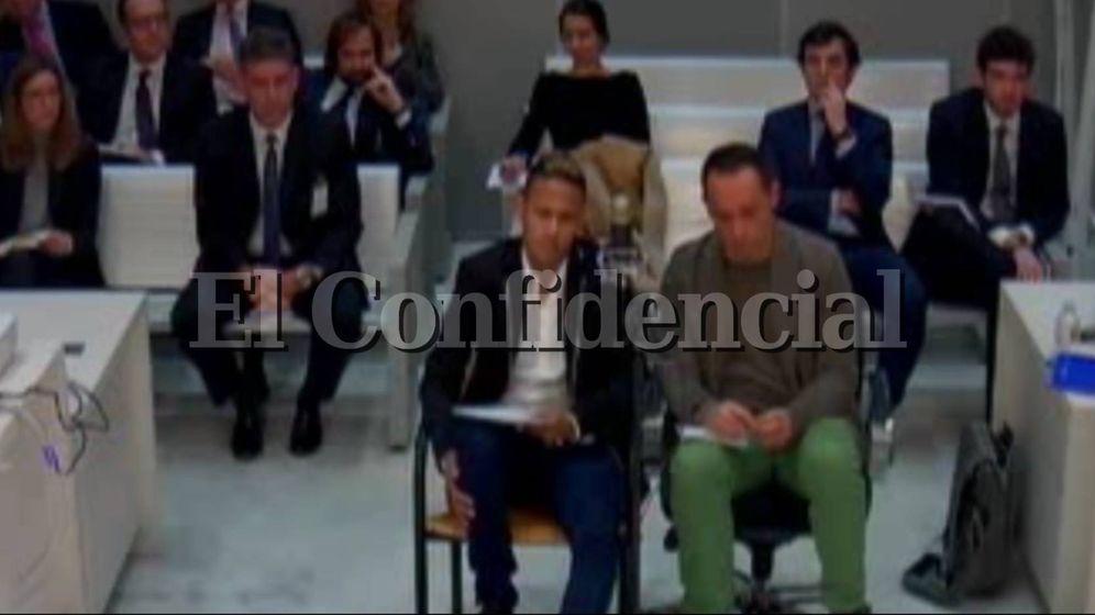 Foto: Neymar durante su declaración en la Audiencia Nacional.