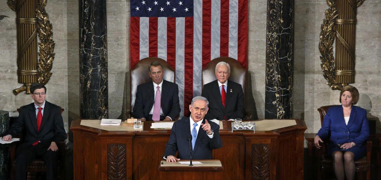 Foto: El primer ministro israelí, Benjamín Netanyahu, durante su intervención en el Congreso de EEUU (Reuters)