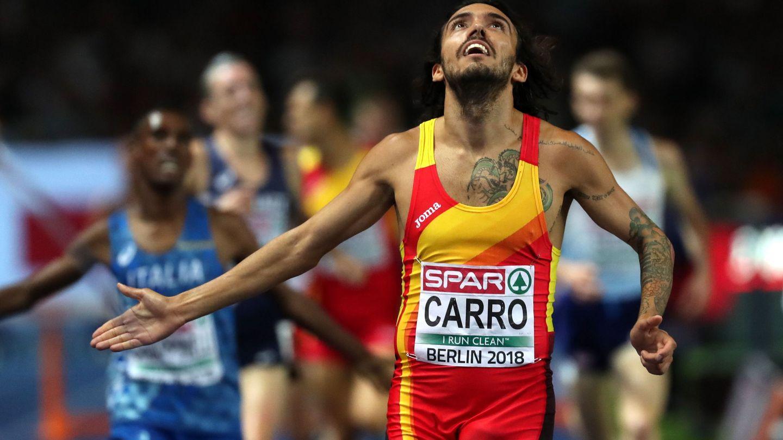BER01. BERLÍN (ALEMANIA), 09 08 2018.- Fernando Carro de España ocupa el segundo lugar en la final masculina de 3000m de carrera de vallas, hoy, jueves 9 de agosto de 2018, en el Campeonato Europeo de atletismo 2018, en Berlín (Alemania). EFE Srdjan Suki