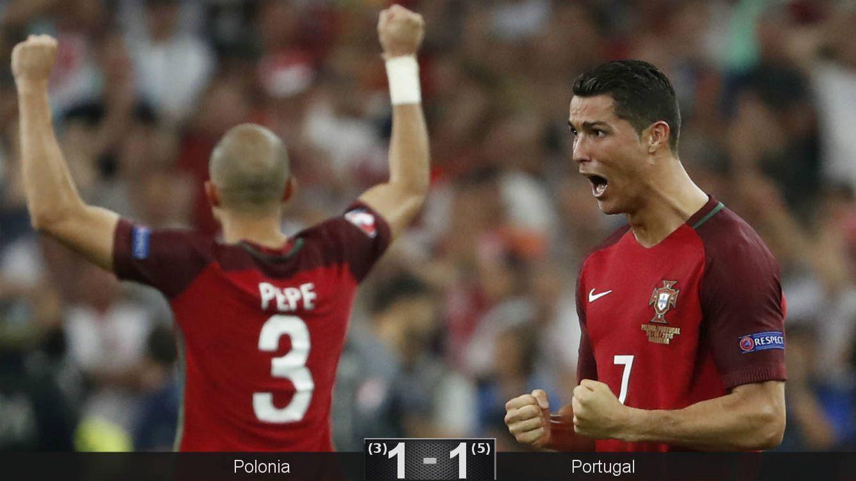 Foto: Pepe y Cristiano celebran el pase de Portugal (Yves Herman/Reuters).