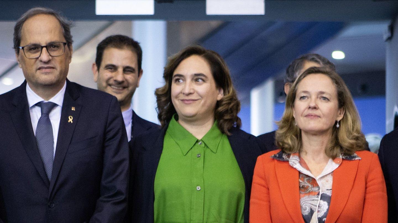 Quim Torra, Nadia Calviño y Ada Colau (EFE)
