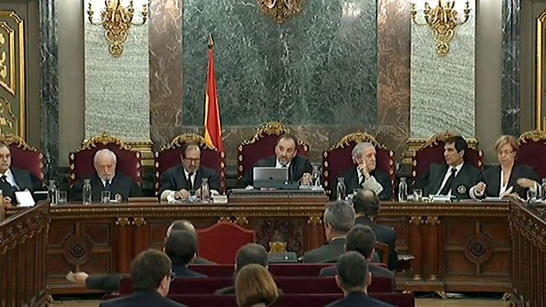 Foto: Imagen de la señal institucional del Tribunal Supremo de la nueva fase en el juicio del 'procés'. (EFE)