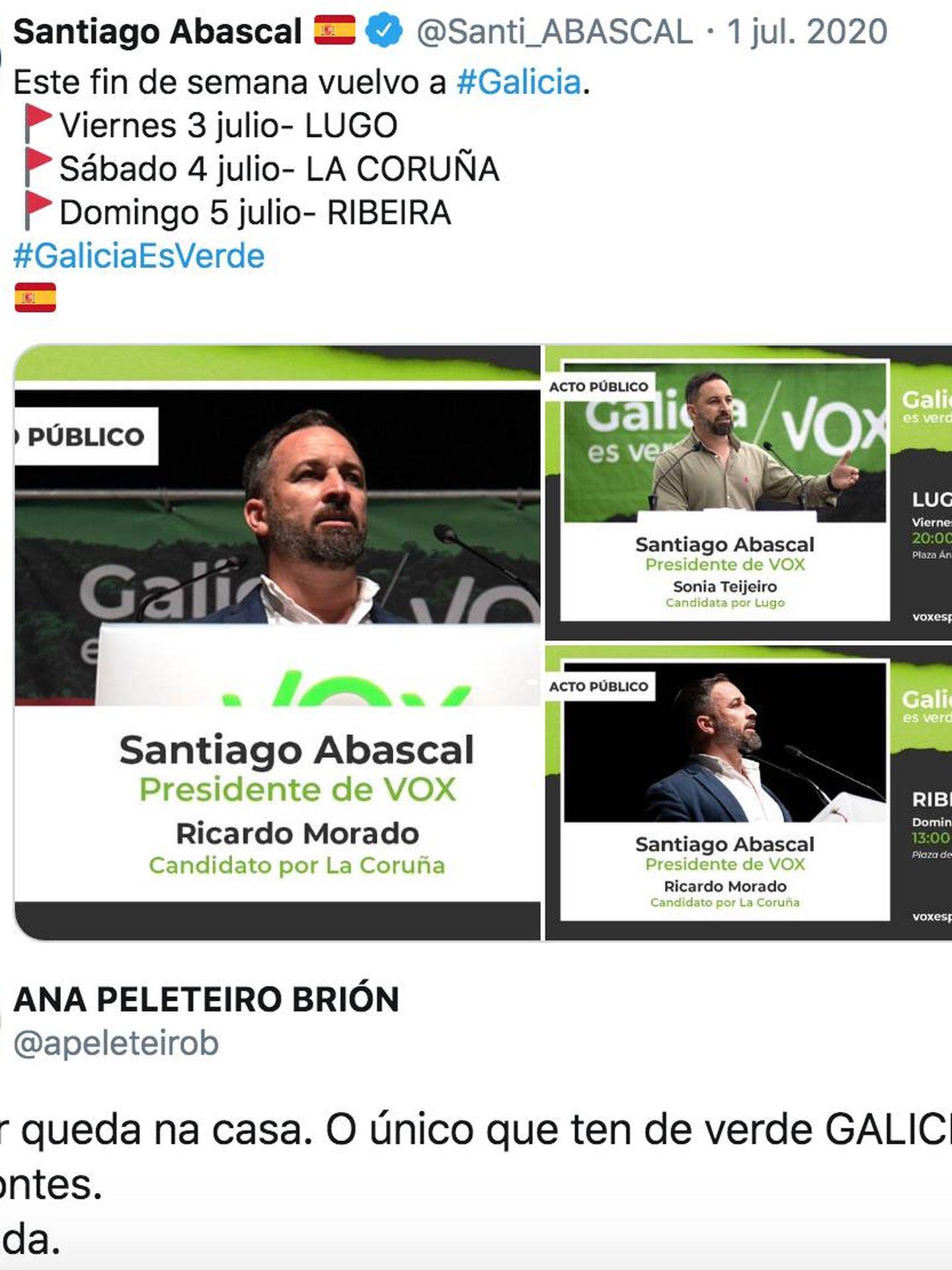 La contestación de Ana Peleteiro a Santiago Abascal