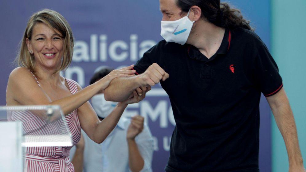 Foto: Yolanda Díaz y Pablo Iglesias, en un acto en Galicia. (EFE)