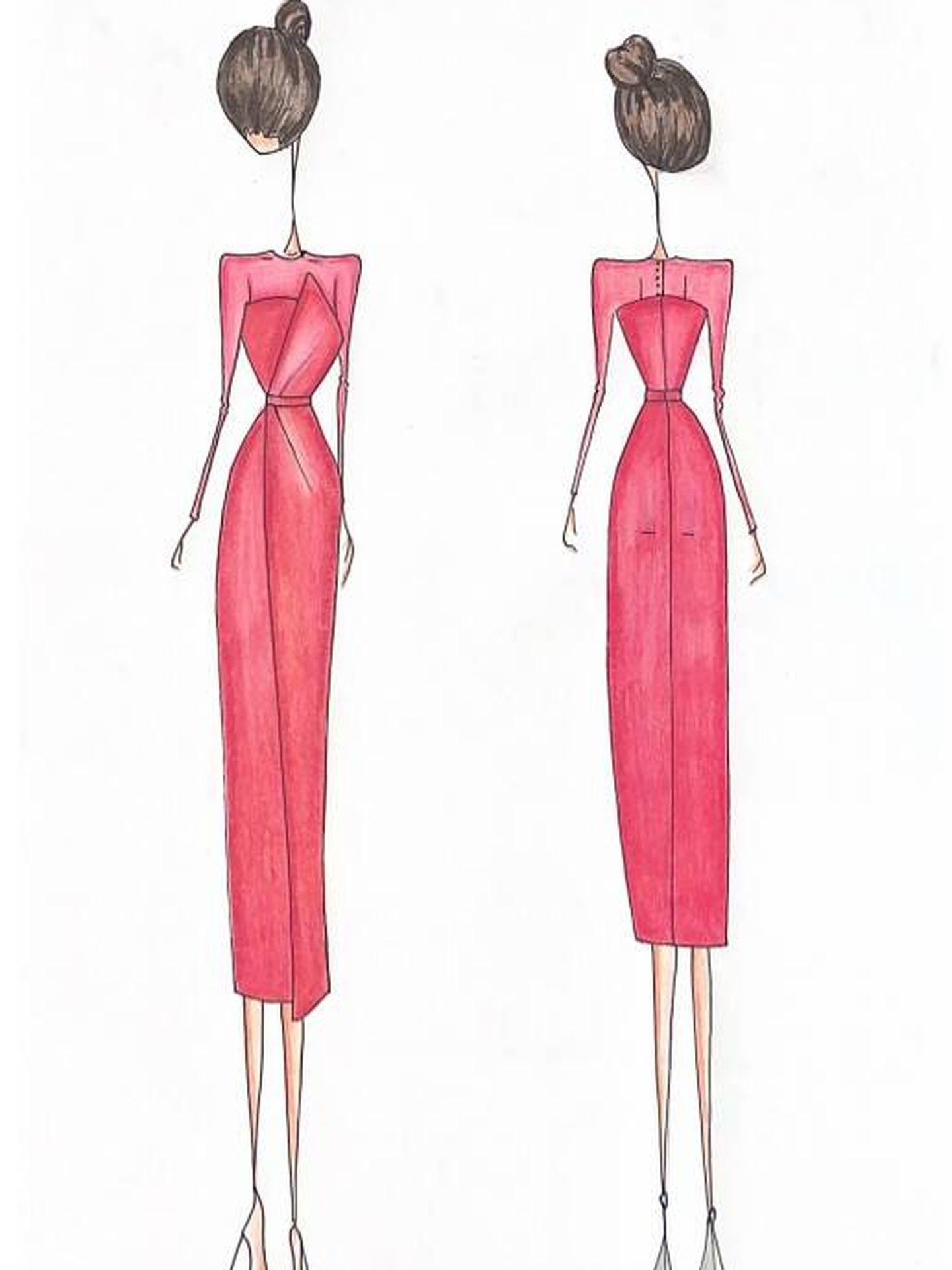 Boceto del vestido JIMENA que ha lucido Ayuso. (VICTORIA)