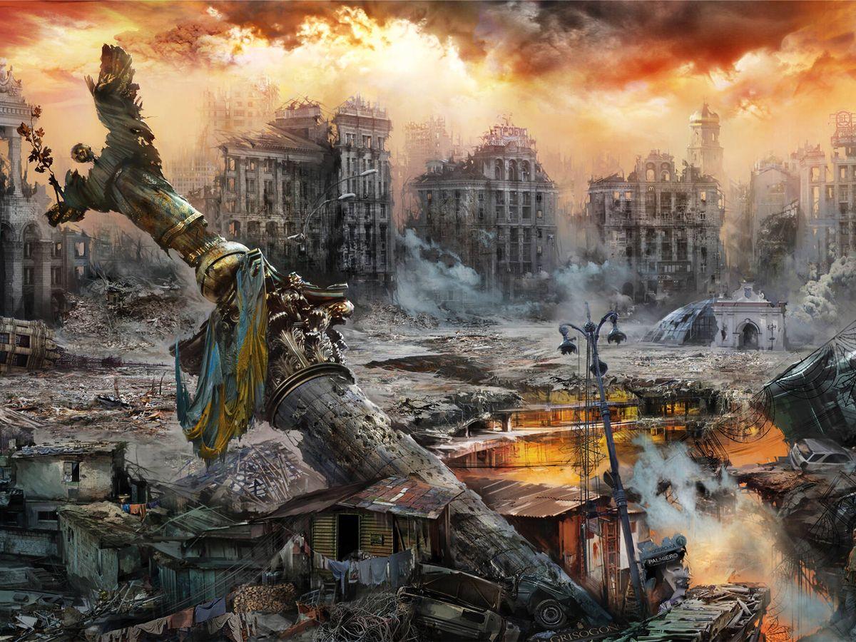Foto: Recreación de las ruinasa de Kiev tras la gran batalla de la II Guerra Mundial