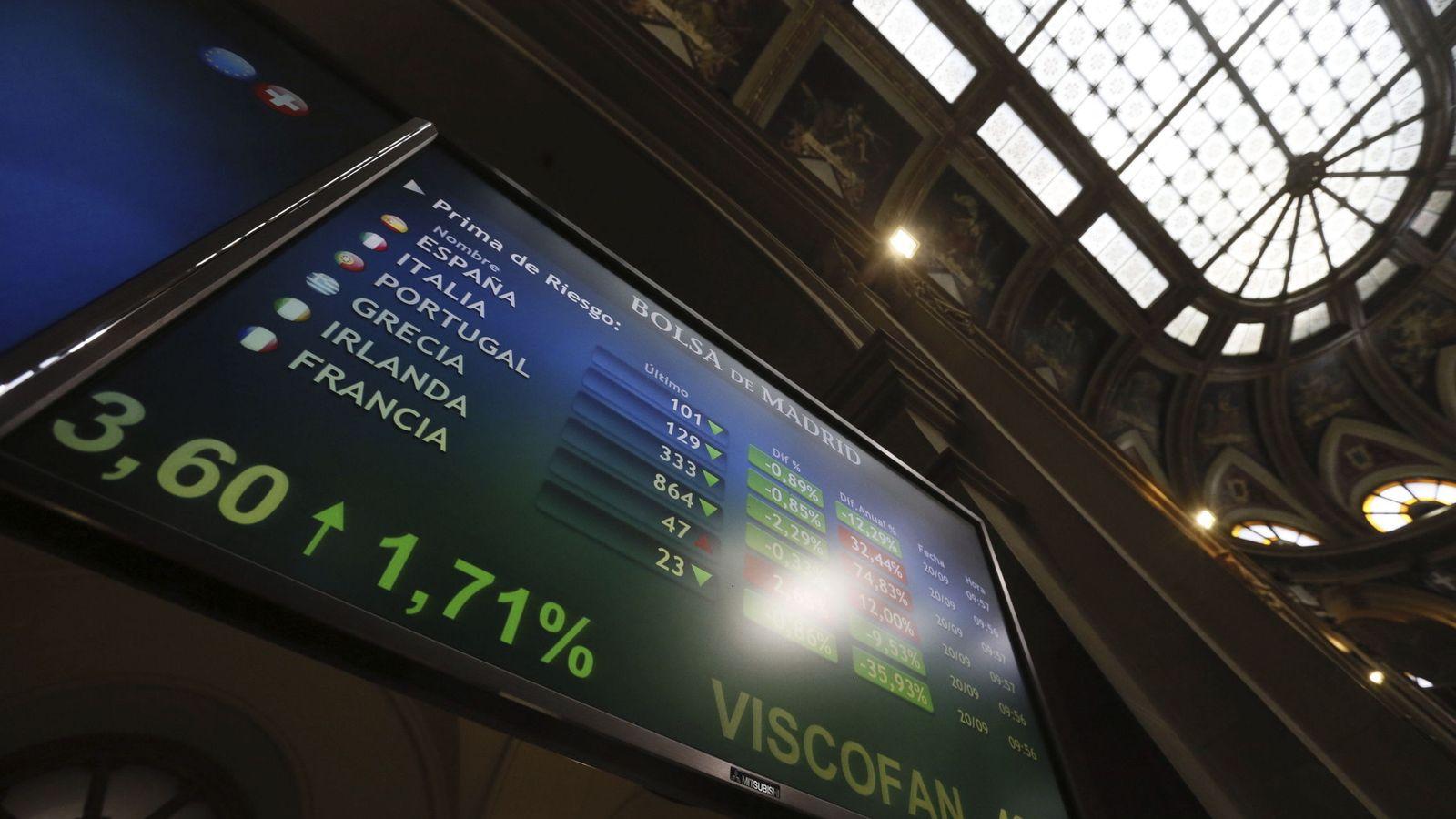 Foto: Panel informativo de la Bolsa de Madrid. (EFE)