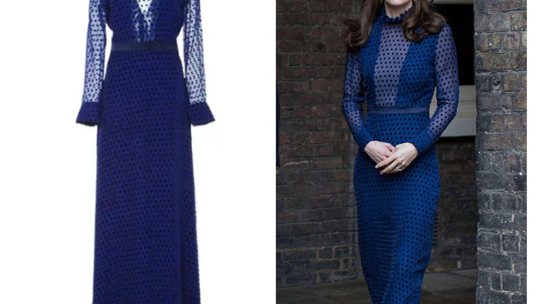 Kate Middleton y su vestido de la marca Saloni. (Getty)