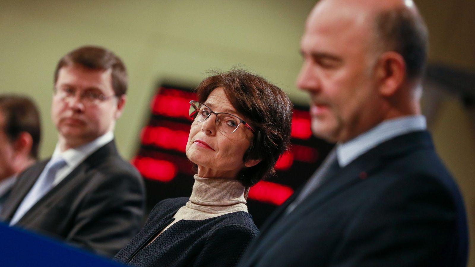 Foto: Valdis Dombrovskis, Marianne Thyssen y Pierre Moscovici, liberales que alimentan al populismo. (EFE)