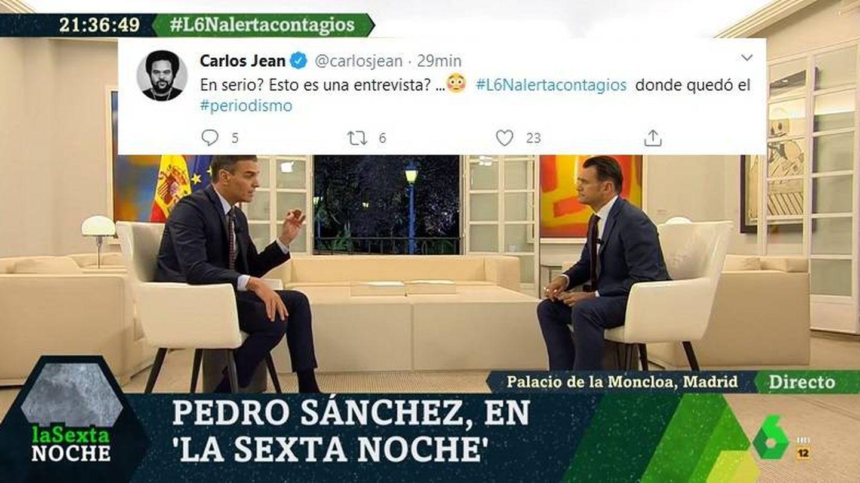 Carlos Jean comentando la entrevista de 'La Sexta noche'. (Twitter).