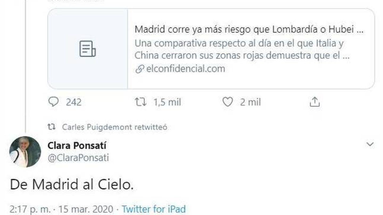 Imagen del desafortunado tuit de Ponsatí, que finalmente ha eliminado. (Twitter).
